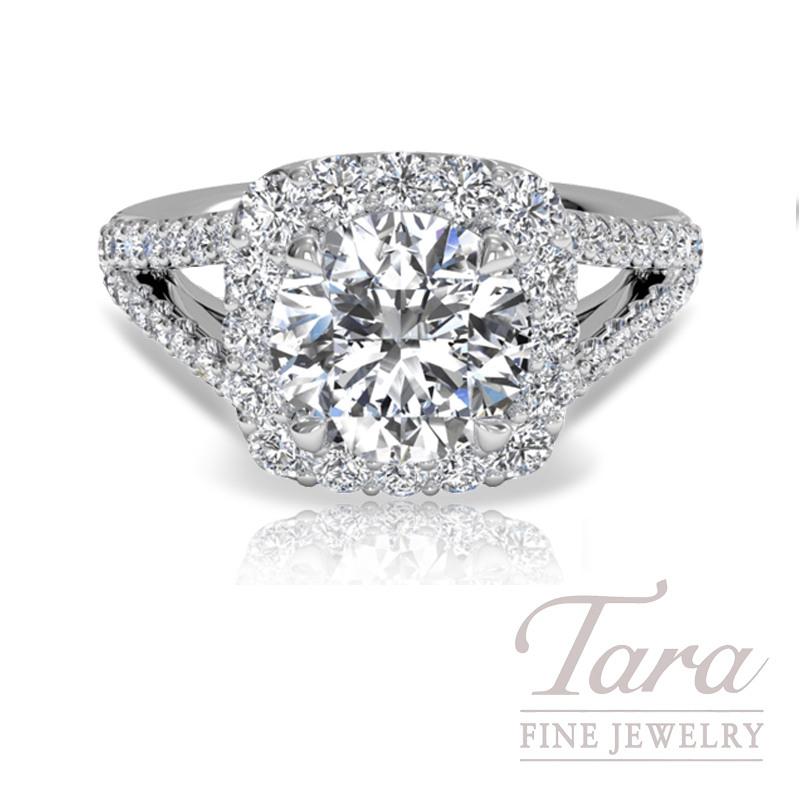 Ritani Cushion Halo Diamond 'V' Band Engagement Ring (Center Diamond Sold Separately)