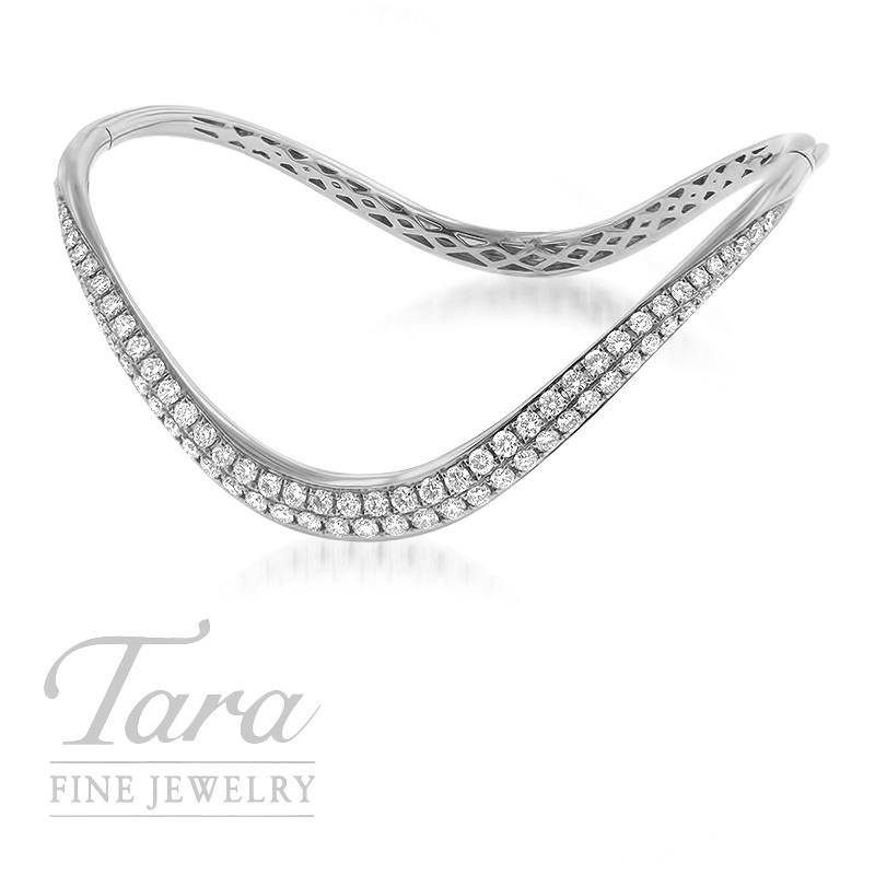 18K White Gold Wavy Diamond Bangle Bracelet, 1.64TDW