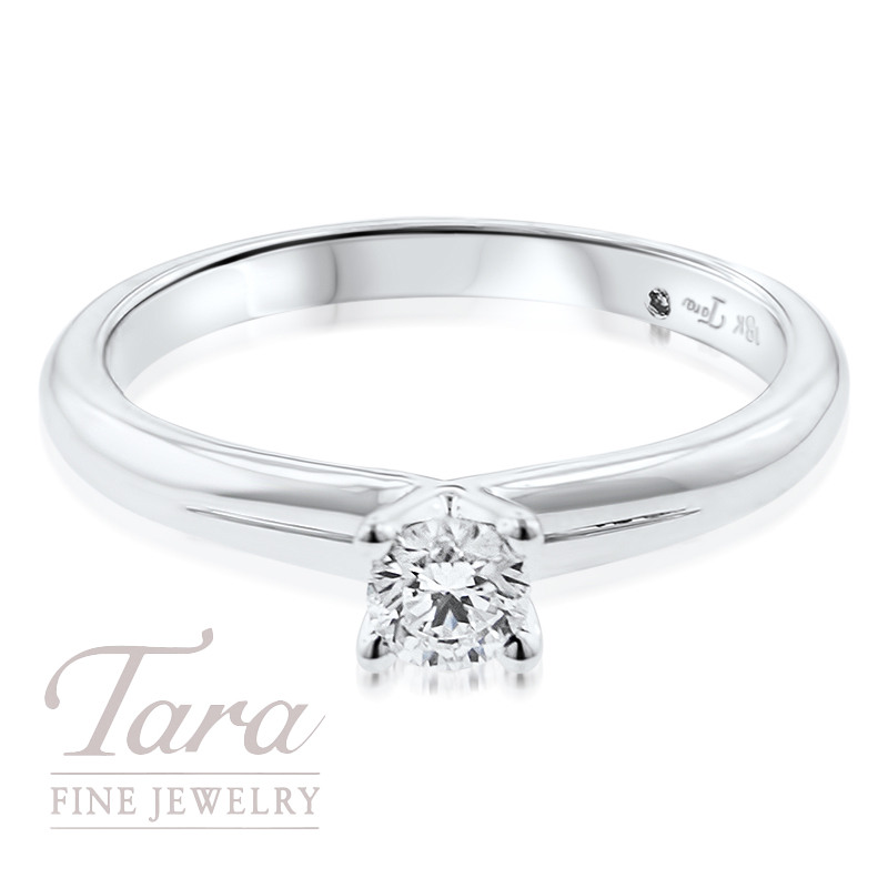Diamond Solitaire Engagement Ring in 18K White Gold .23CT Center Stone