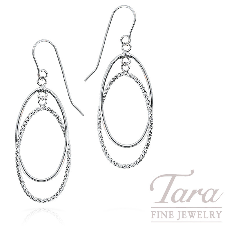 Dangle Hoop Earrings in 14K White Gold, 1.4 Grams