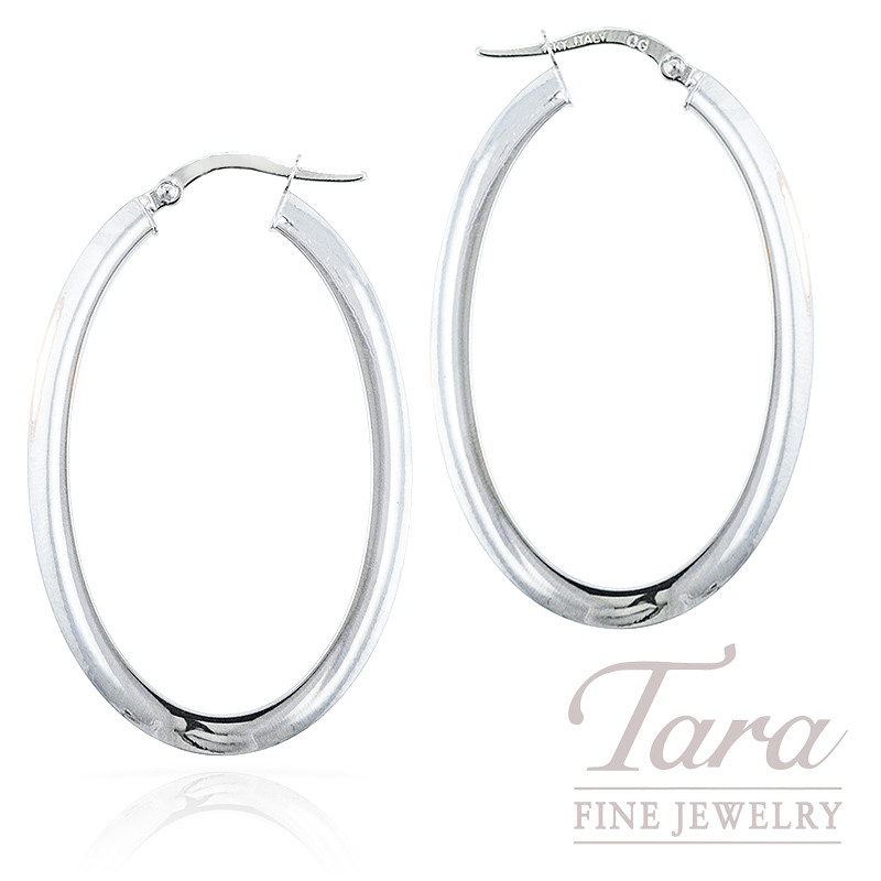 14k White Gold Oval Hoop Earrings 1 6g