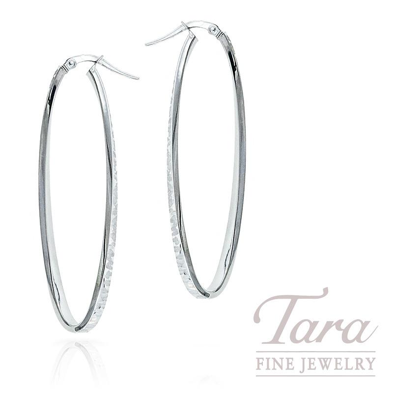 14k White Gold Oval Hoop Earrings 2 3g
