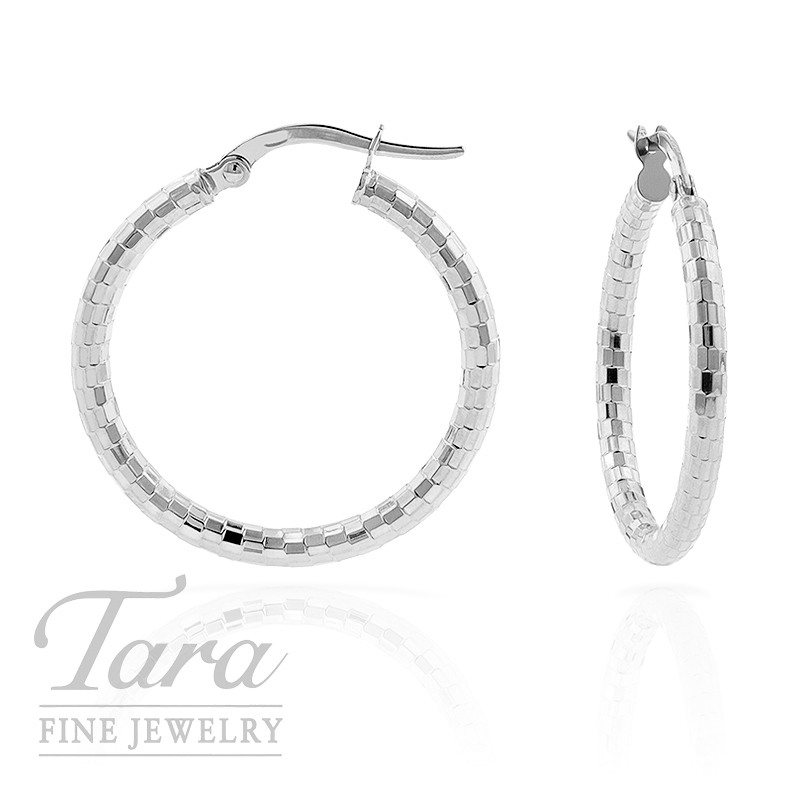 Hoop Earrings in 14K Faceted White Gold