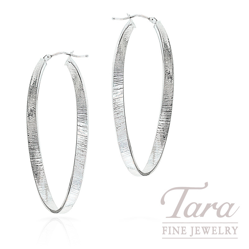 Twisted Hoop Earrings, 14K White Gold, 2.9 Grams