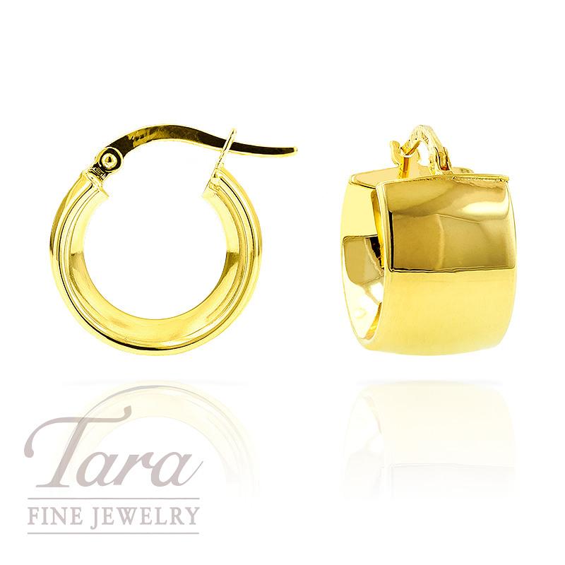 Wide 10mm Hoop Earrings in 14k Yellow Gold