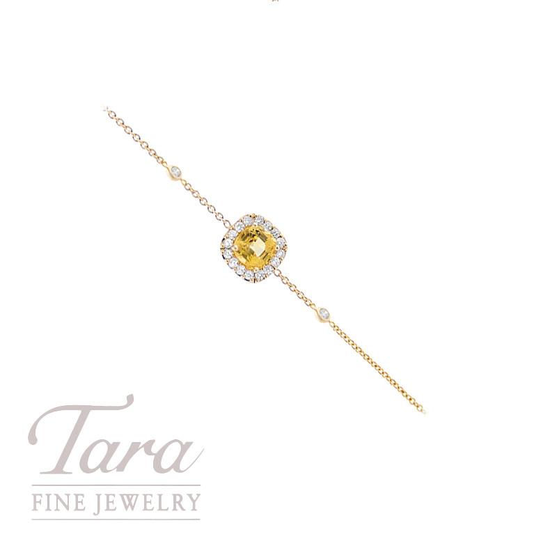 Yellow Sapphire and Diamond Bracelet in 18K Yellow Gold 1.0CT Yellow Sapphire, .22TDW