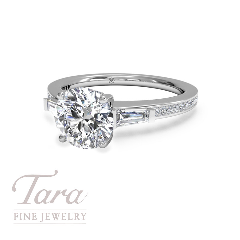 Tapered Baguette Diamond Band Engagement Ring in 18K White Gold (center stone sold separately)