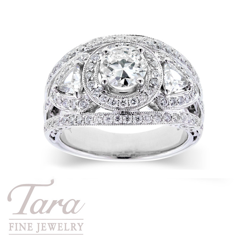 Diamond Ring in 18K White Gold, .80 ctw center, 2 trillion sides, .40 tdw & .75 tdw accents