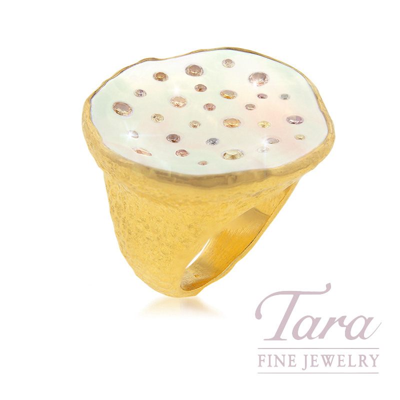 24K Yellow Gold Mother of Pearl & Diamond Ring, .68TDW