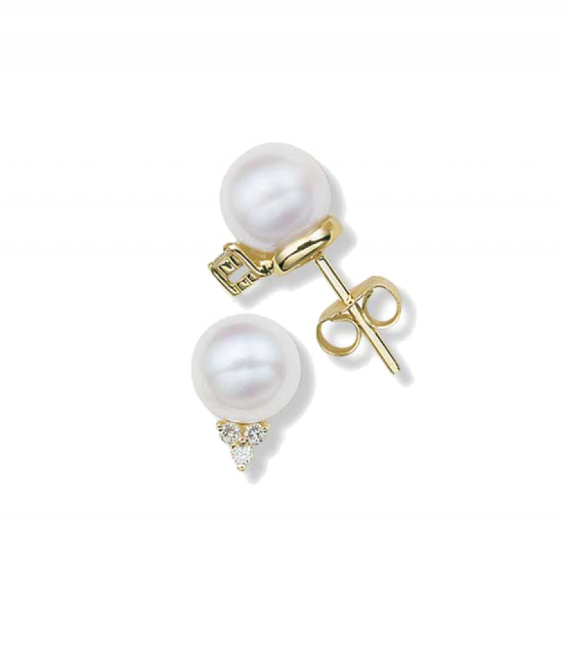 Pearl & Diamond Earrings in 14K Yellow Gold, 7.5mm Pearls and .09 TDW