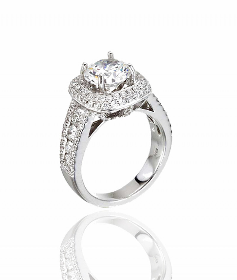 Diamond Wedding Ring in 18K White Gold (Center stone sold separately)