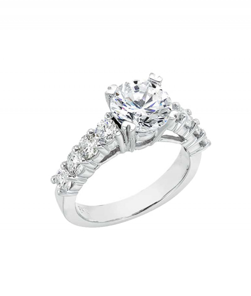Diamond Engagement Ring in 18K White Gold, 1.15 CT TW (Center stone sold separately)