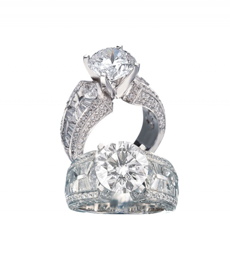 Diamond Wedding Ring by JB Star in Platinum, 2.03 CT TW. (Center stone sold separately)