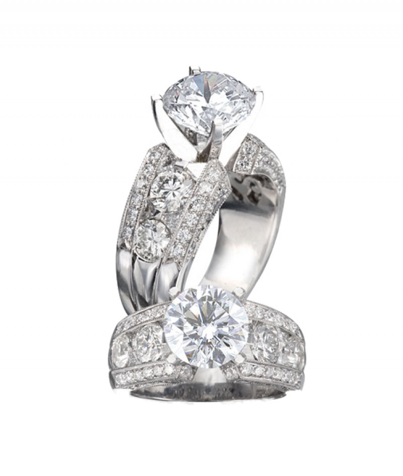 Diamond Wedding Ring by JB Star in Platinum, 1.70 CT TW. (Center stone sold separately)