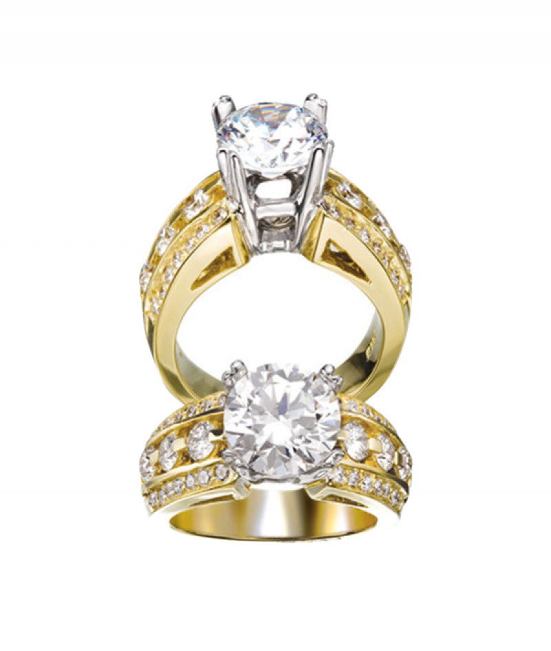 Diamond Wedding Ring in 18K Yellow Gold,  1.09 CT TW. (Center stone sold separately)
