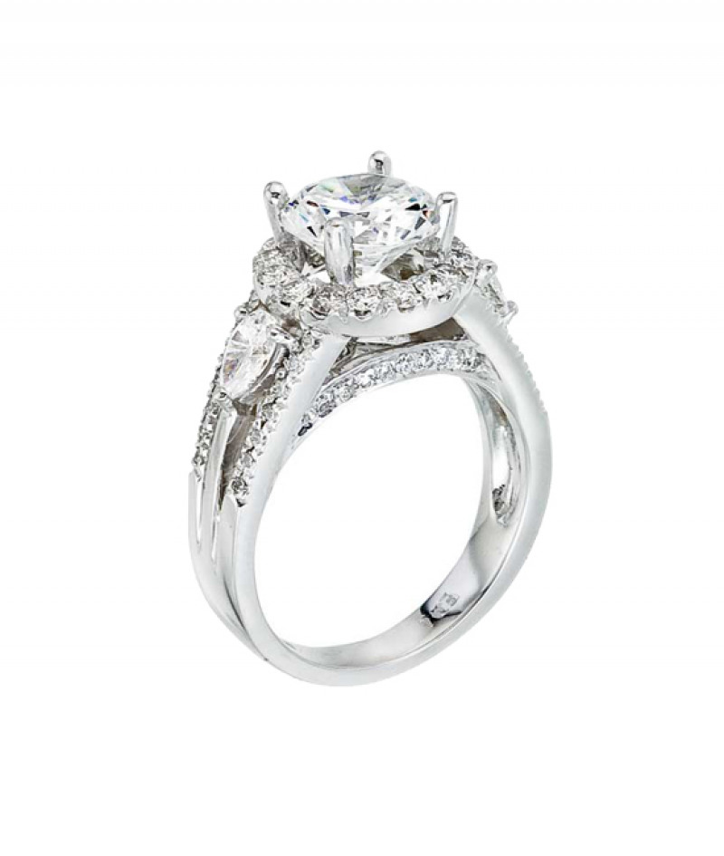 Diamond Wedding Ring in 18K White Gold, 1.31 CT TW (Center stone sold separately)