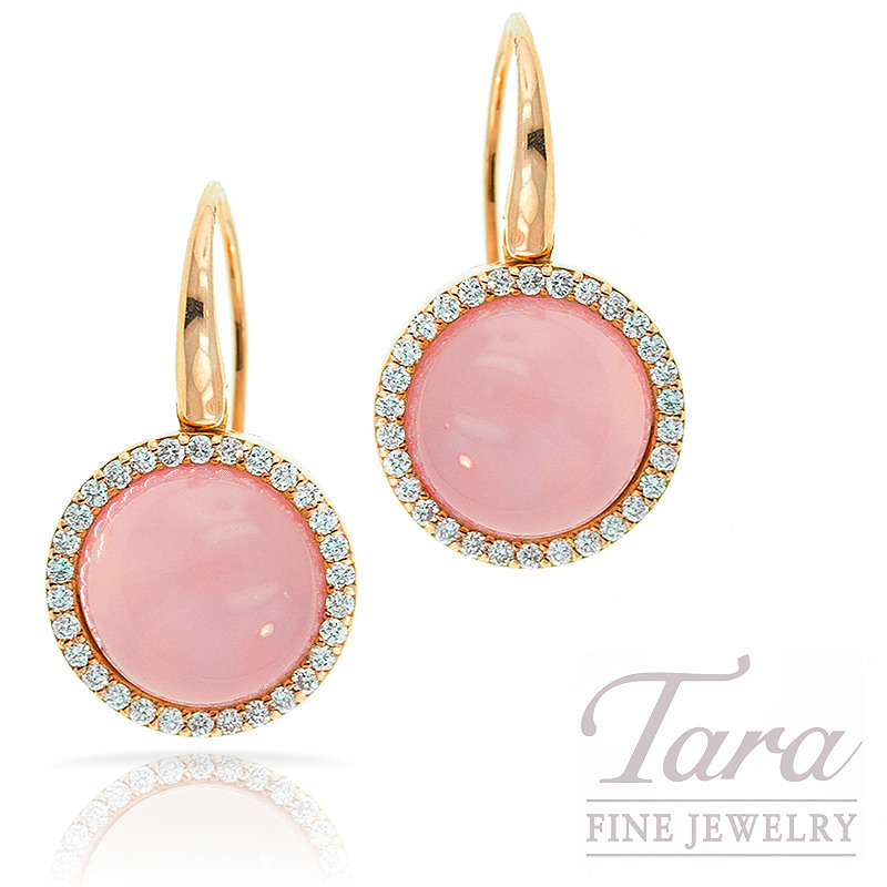 Roberto Coin Pink Quartz and Diamond Earrings, 18K Rose Gold .56TDW