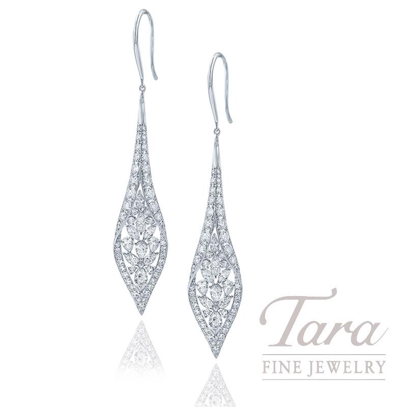 18K White Gold Diamond Dangle Earrings, 7.8G, 4.21TDW