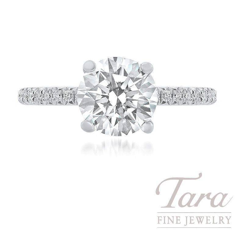 18k White Gold Forevermark Diamond Engagement Ring, 1.57CT Forevermark Diamond, 2.6G,  .20TDW (Center Stone Sold Separately)
