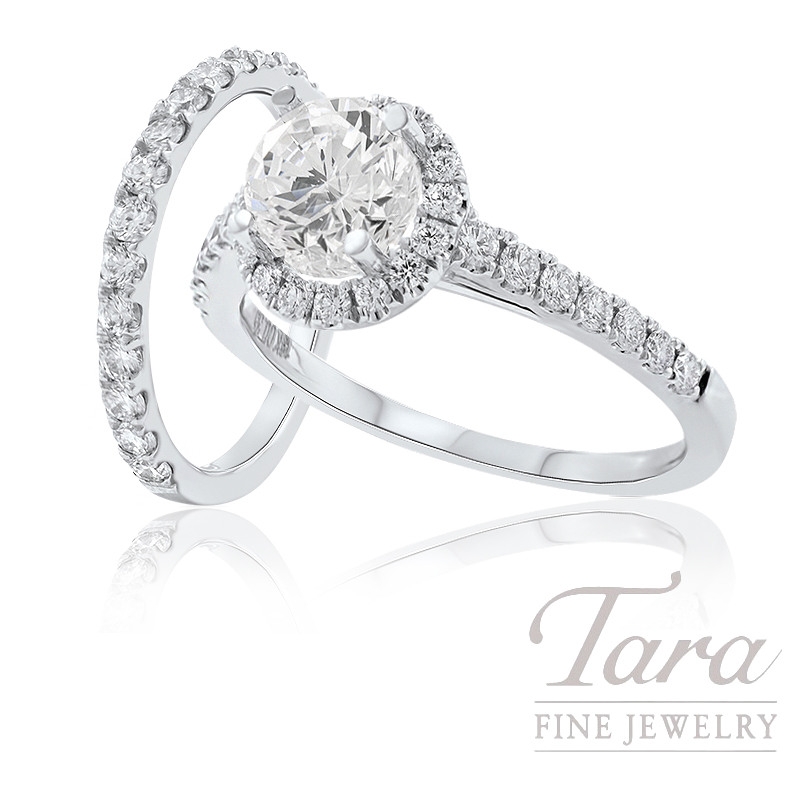 18k White Gold Diamond Halo Engagement Ring and Band - Click for Available Sizes! (Center Stone Sold Separately)