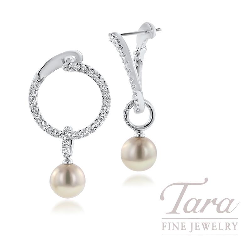 Mikimoto 18K White Gold? 7MM A+ Pearl & Diamond Earrings, 62?Diamonds 0.45TDW