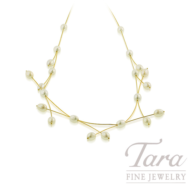 14K Yellow Gold Freshwater Pearl Necklace, 10.1G
