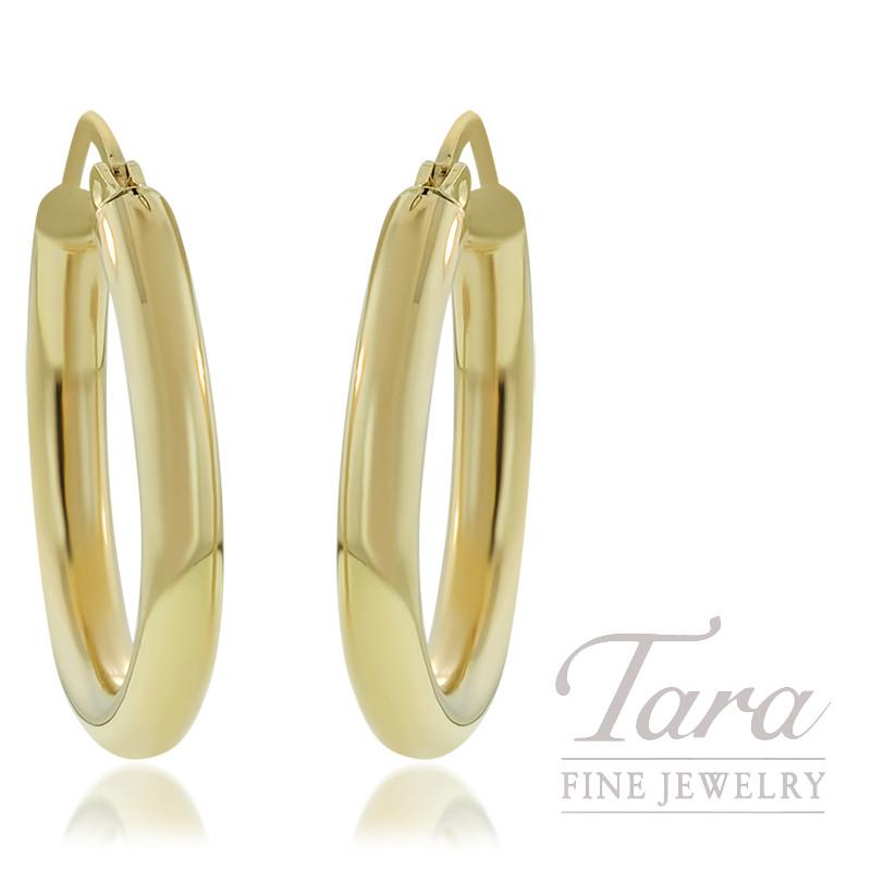 14K Yellow Gold 2.2G 3 x 23MM Hoop Earrings