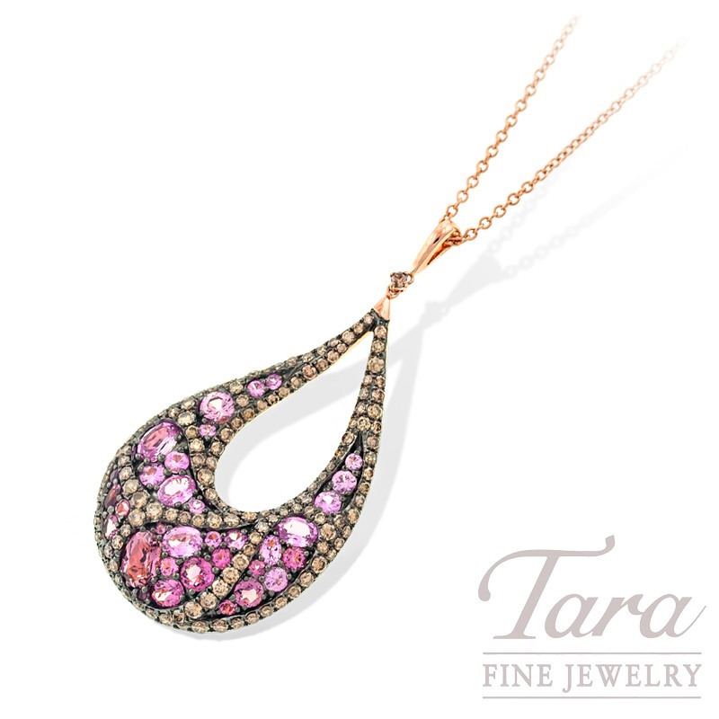 18k Rose Gold Pink Sapphire, Pink Tourmaline, and Champagne Diamond Necklace, 11.3g, 1.92TW Pink Sapphires, 1.31TW Pink Tourmalines, 1.98TDW Diamonds