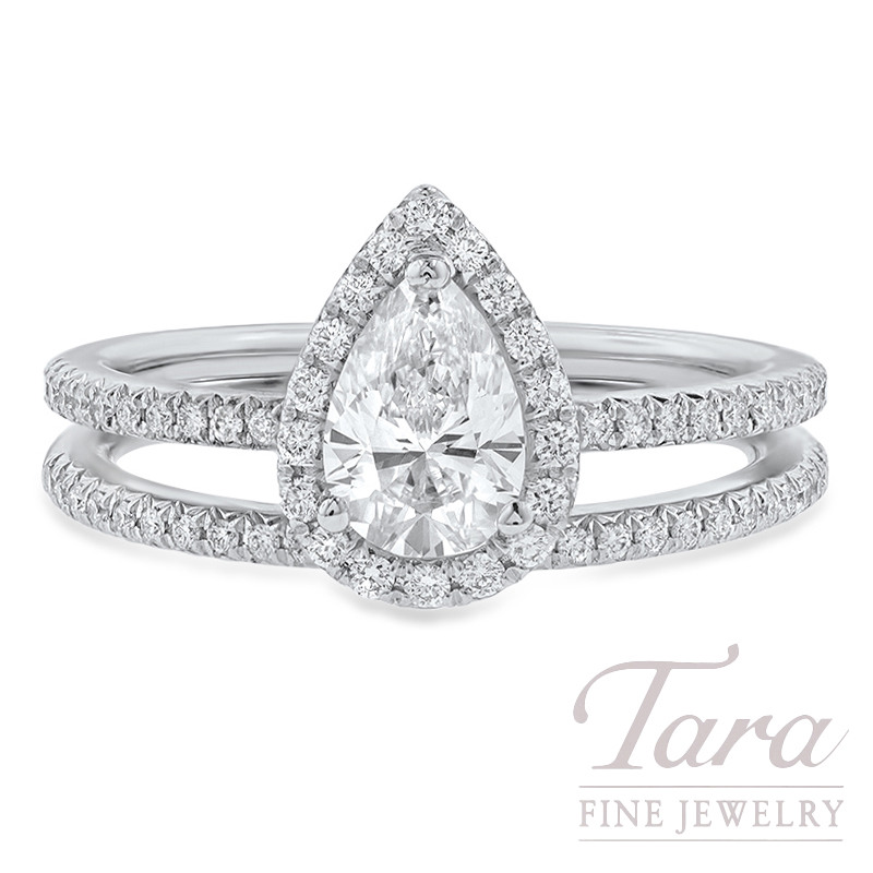 18k White Gold Forevermark Pear-shape Diamond Halo Wedding Set, .70CT Forevermark Pear-shape Diamond, .38TDW (Center Stone Sold Separately)