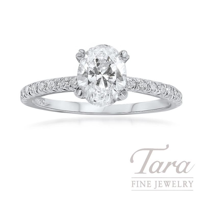 18K White Gold Oval Diamond Engagement Ring, 1.04CT Oval-shape Diamond, 2.4G, .27TDW