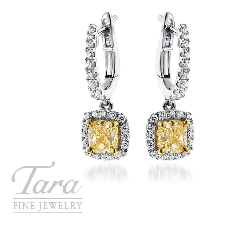 Ladies 18K Two Tone Halo Cushion Cut Fancy Yellow Diamond Earrings, 2.08TDW