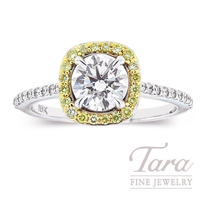 Forevermark 18k Two-Tone Diamond Halo Engagement Ring, 1.01CT Center Diamond, .29TDW Fancy Yellow Diamonds