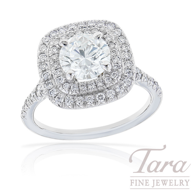 18k White Gold Double Diamond Halo Engagament Ring, 5.3G, .51TDW (Center Stone Sold Separately)