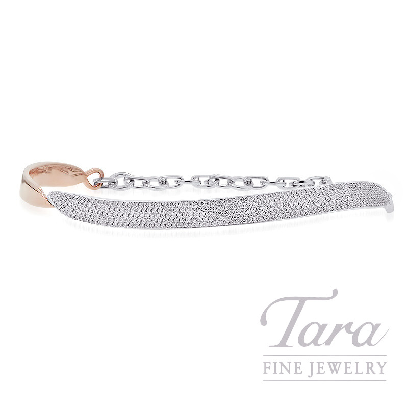 18K Rose and White Gold Diamond Collar Necklace, 44.0G, 4.43TDW