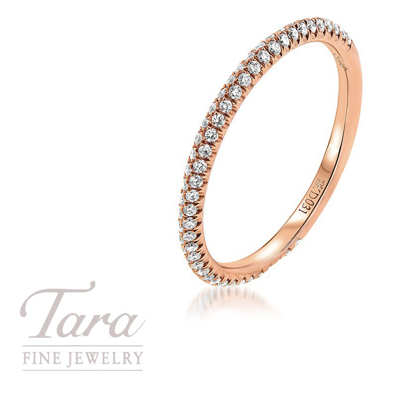 18K Rose Gold Pave Diamond Band, .25TDW