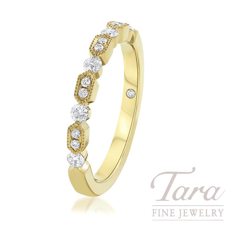 18K Yellow Gold Diamond Fashion Ring, 3.0G, .24TDW