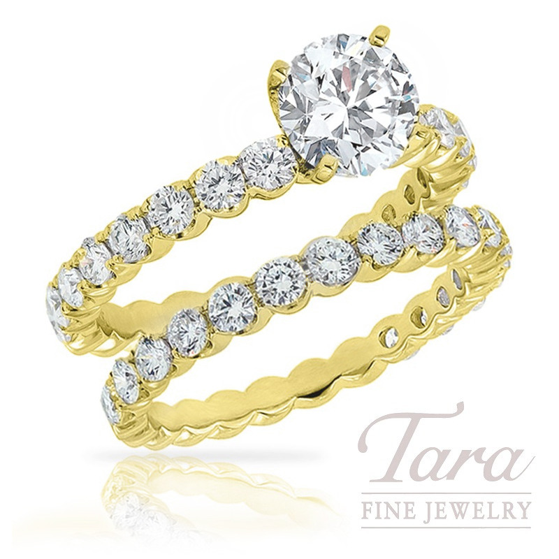 18K Yellow Gold Diamond Wedding Ring Set, 1.47TDW (Center Stone Sold Separately)