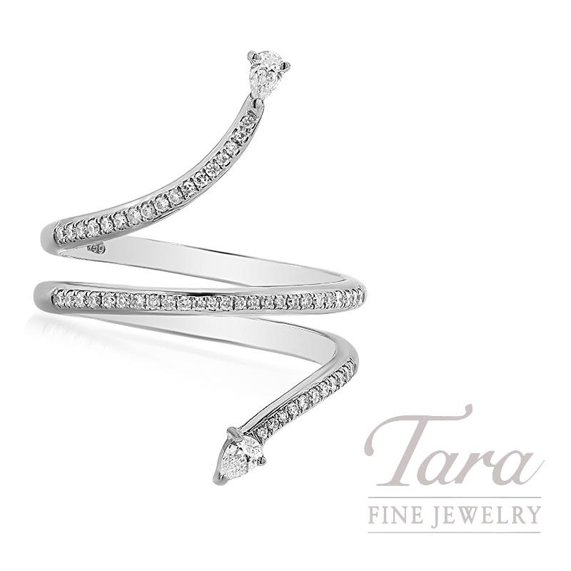 18k White Gold Pear-Shape Diamond Wrap Ring, 4.0G, 2.9G