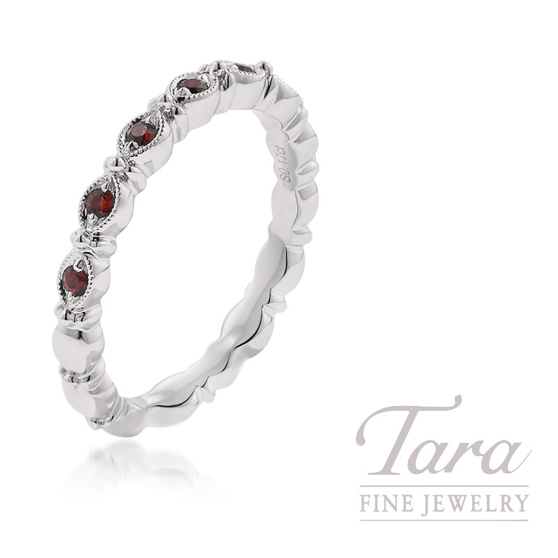 18K White Gold Ruby Band, 3.5G, .16TGW