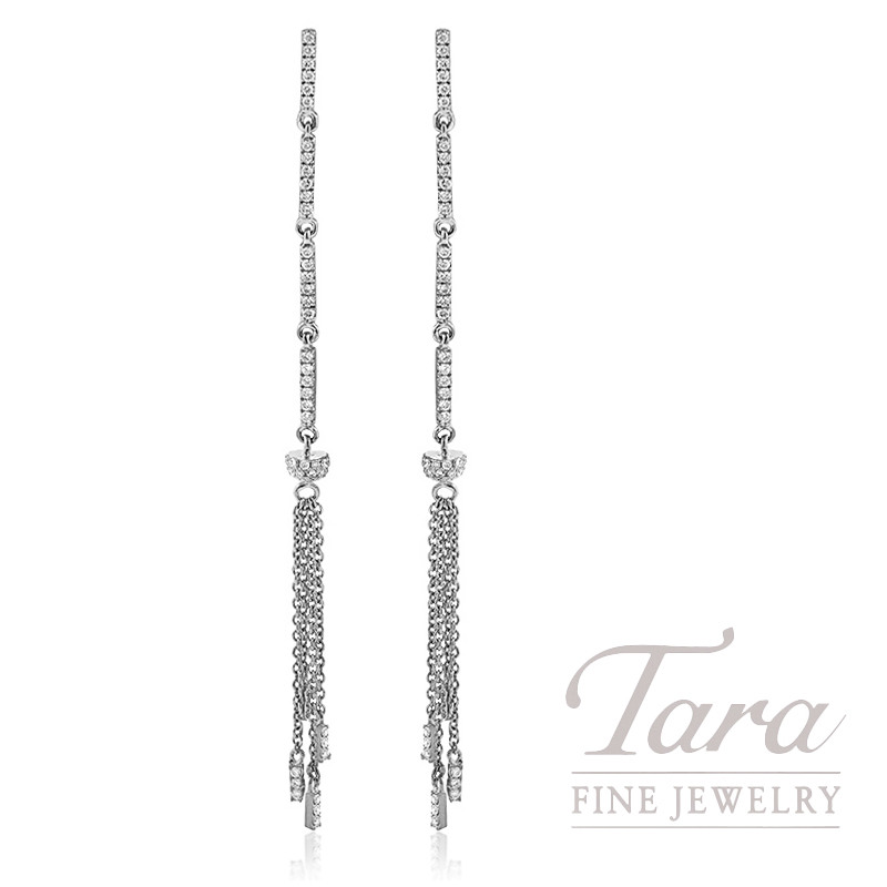 18k White Gold Diamond Dangle Earrings, 2.7G, .43TDW