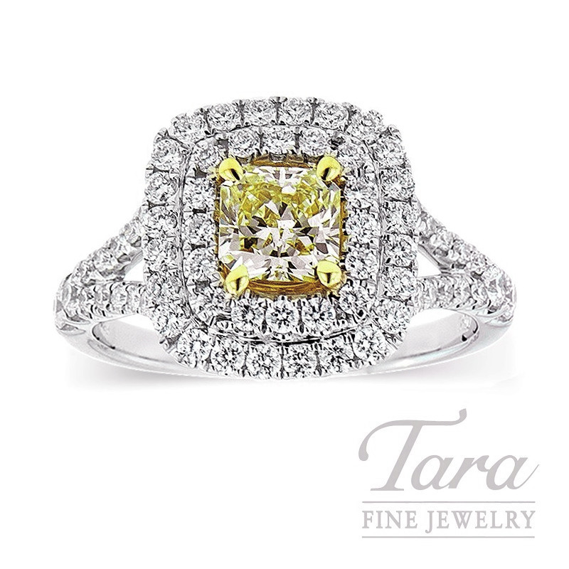 Forevermark 18k Two-Tone Fancy Yellow Diamond Halo Engagement Ring, .72CT Fancy Yellow Diamond, .74TDW