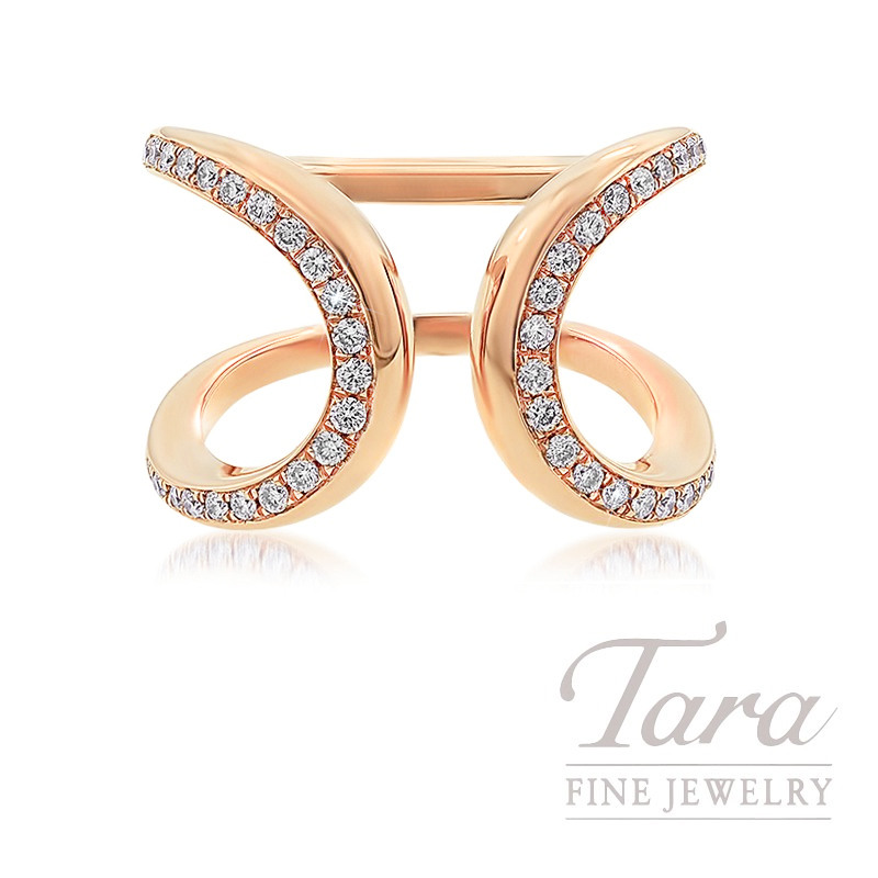 18K Rose Gold Open-face Diamond Fashion Ring, 7.6G, .40TDW
