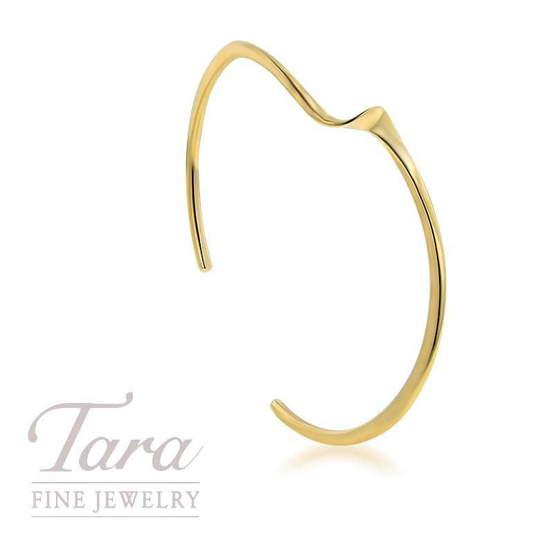 14K Yellow Gold Twist Cuff Bangle Bracelet, 5.7G