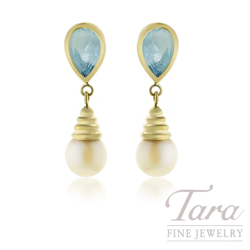 14K Yellow Gold Pearl and Blue Topaz Earrings, 2.8G