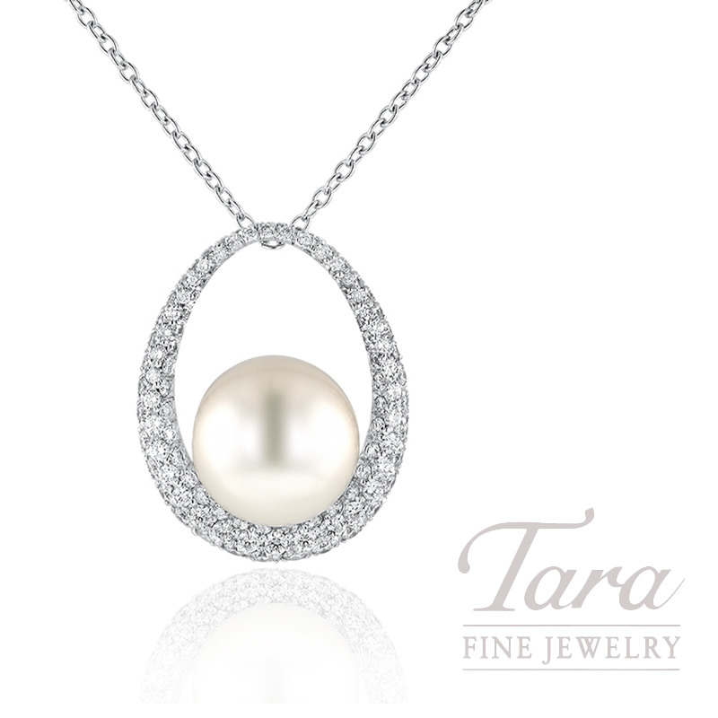 """18k White Gold Pearl & Diamond Pendant with chain, 18"""" Chain, 1.03TDW"""