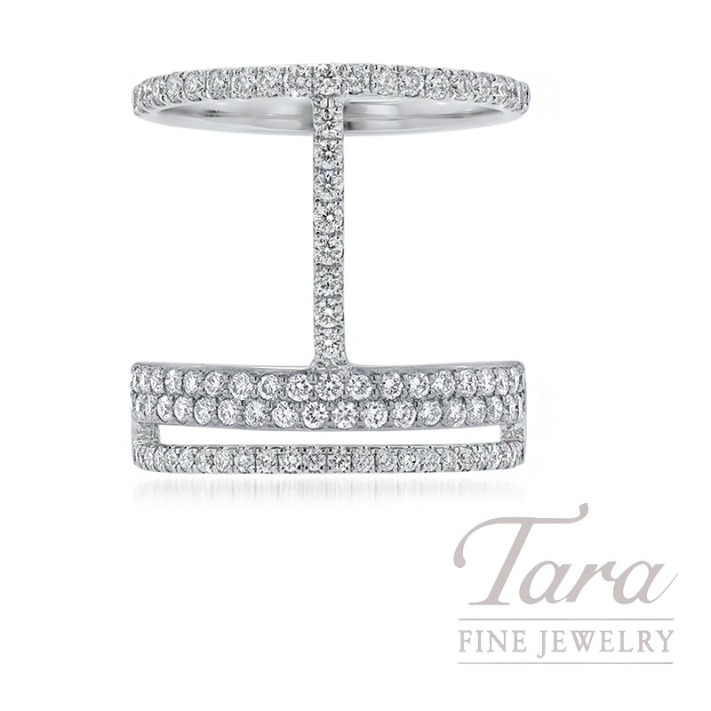 18k White Gold Geometric Diamond Ring, 7.0G, 1.00TDW