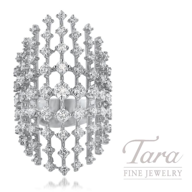 18K White Gold Ring 87 Round Diamonds 2.77TDW 12.2G
