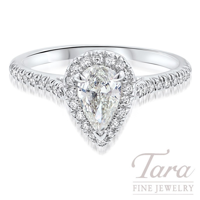 18k White Gold Pear-Shape Diamond Halo Engagement Ring, 4.3G, .26TDW (Center Stone Sold Separately)