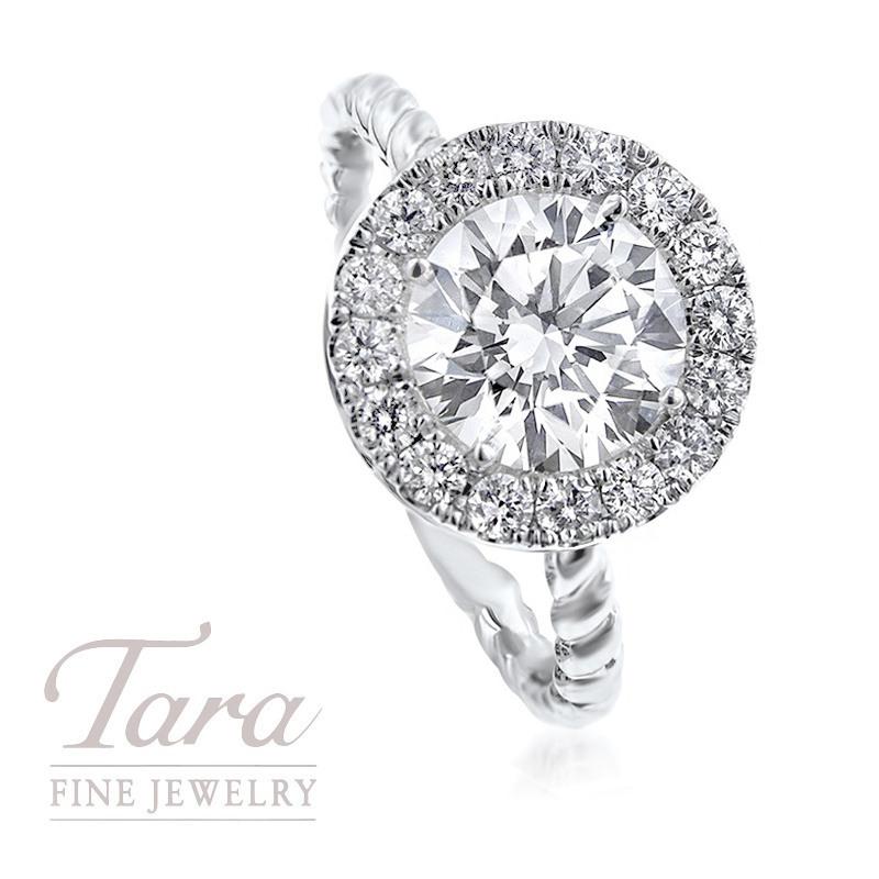 18K White Gold Round Diamond Twist-style Engagement Ring, 1.52CT Round Diamond, .30TDW