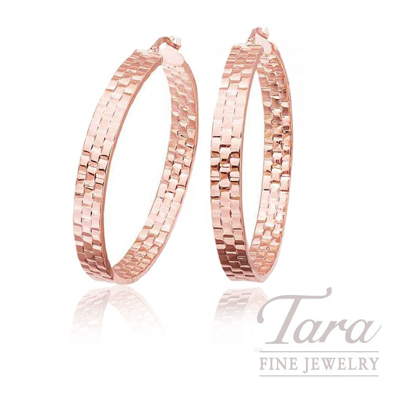 14k Rose Gold Textured Hoop Earrings 6 3g